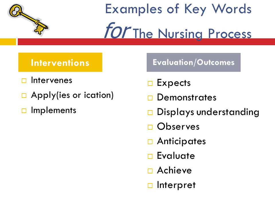 Examples of Key Words for The Nursing Process  Expects  Demonstrates  Displays understanding  Observes  Anticipates  Evaluate  Achieve  Interp