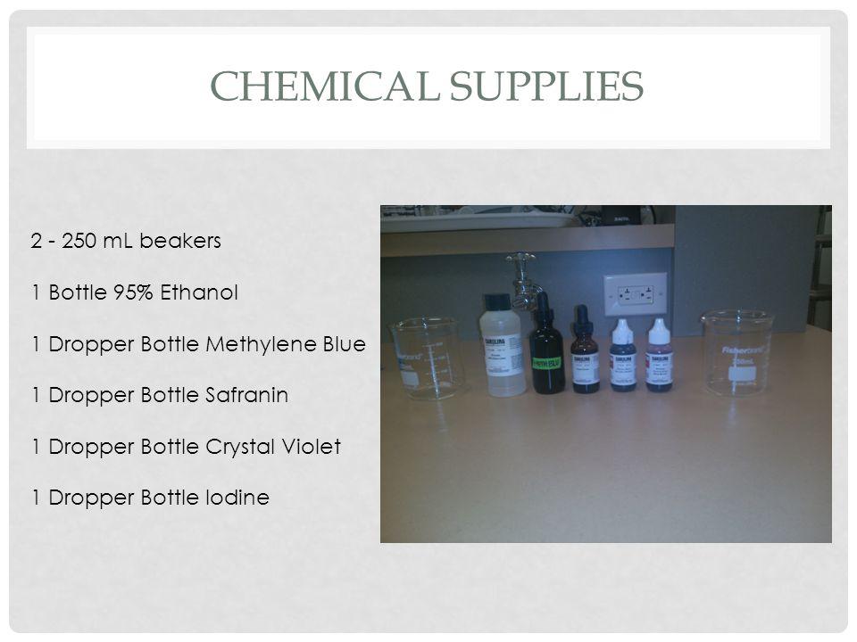 CHEMICAL SUPPLIES 2 - 250 mL beakers 1 Bottle 95% Ethanol 1 Dropper Bottle Methylene Blue 1 Dropper Bottle Safranin 1 Dropper Bottle Crystal Violet 1 Dropper Bottle Iodine