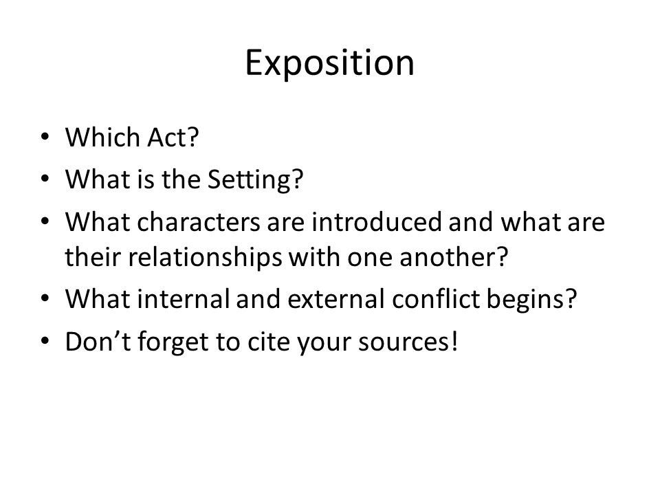 Rising Action What is a main event.– Give one example.