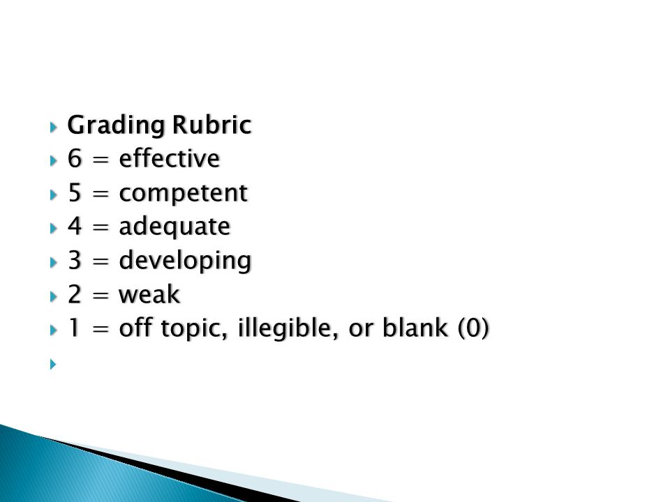  Grading Rubric  6 = effective  5 = competent  4 = adequate  3 = developing  2 = weak  1 = off topic, illegible, or blank (0)