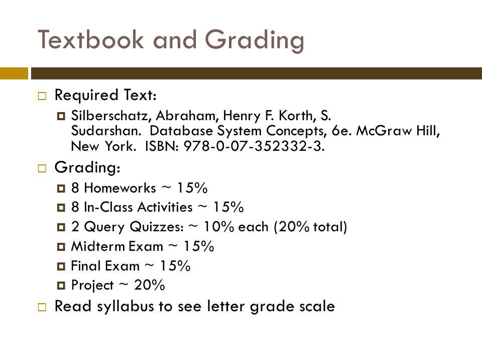 Textbook and Grading  Required Text:  Silberschatz, Abraham, Henry F.