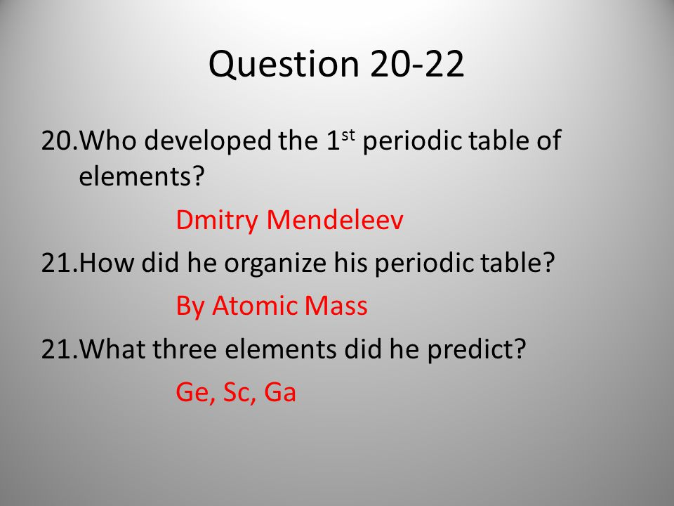 Question 20-22 20.Who developed the 1 st periodic table of elements.