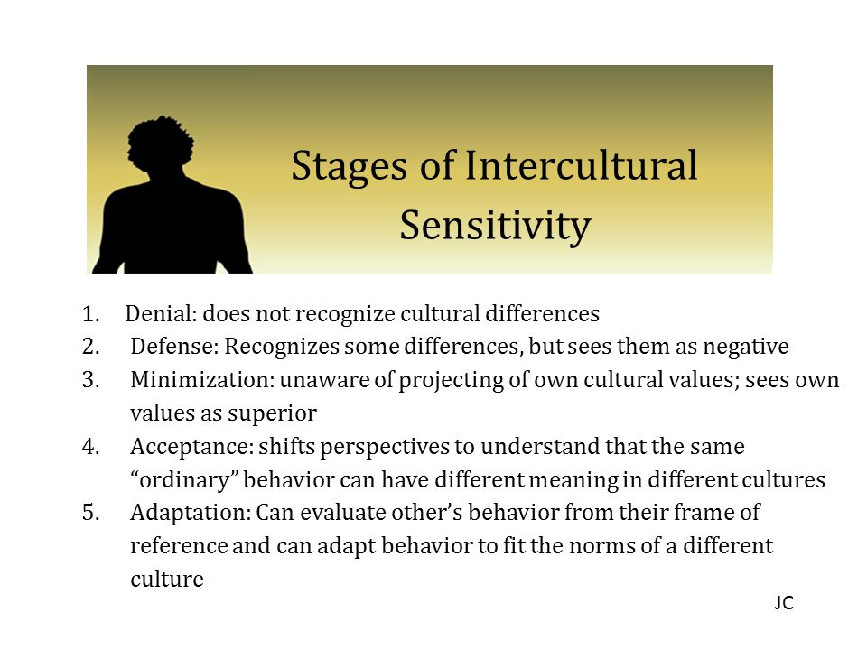 Stages of Intercultural Sensitivity 1.Denial: does not recognize cultural differences 2.Defense: Recognizes some differences, but sees them as negativ