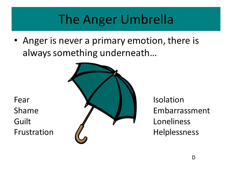 The Anger Umbrella Anger is never a primary emotion, there is always something underneath… FearIsolation Shame Embarrassment GuiltLoneliness Frustrati
