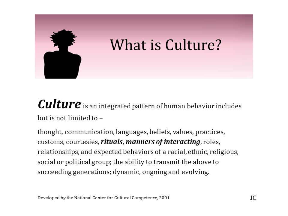 What is Culture? Culture is an integrated pattern of human behavior includes but is not limited to – thought, communication, languages, beliefs, value