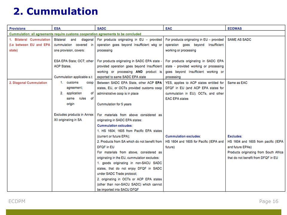 ECDPMPage 16 2. Cummulation
