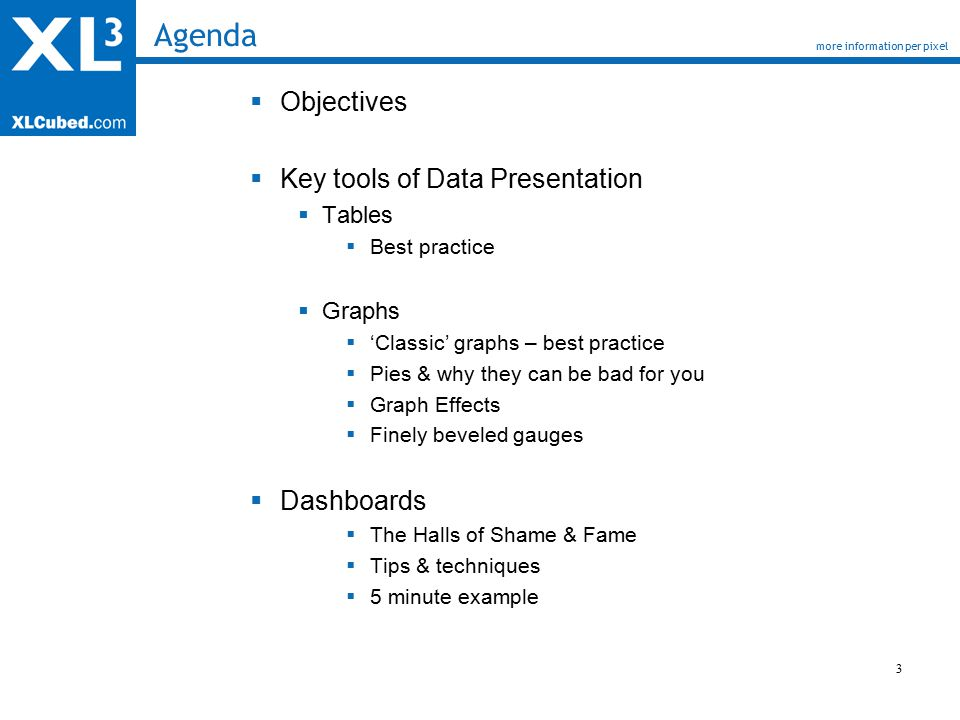 3 Agenda  Objectives  Key tools of Data Presentation  Tables  Best practice  Graphs  'Classic' graphs – best practice  Pies & why they can be bad for you  Graph Effects  Finely beveled gauges  Dashboards  The Halls of Shame & Fame  Tips & techniques  5 minute example more information per pixel