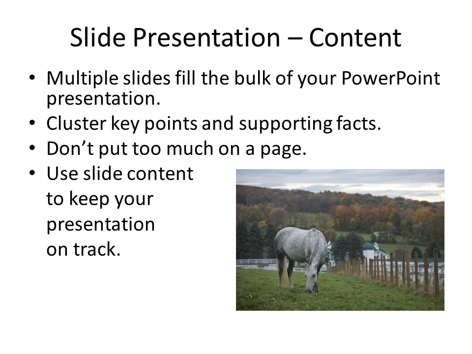 Slide Presentation – Content Multiple slides fill the bulk of your PowerPoint presentation.