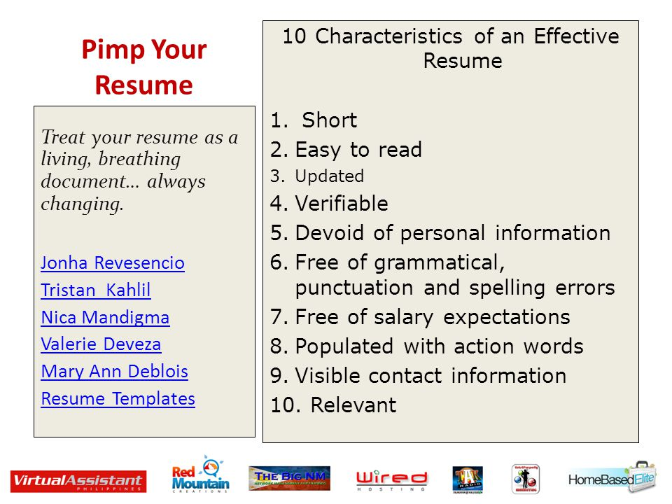 Pimp Your Resume 10 Characteristics of an Effective Resume 1. Short 2.Easy to read 3.Updated 4.Verifiable 5.Devoid of personal information 6.Free of g