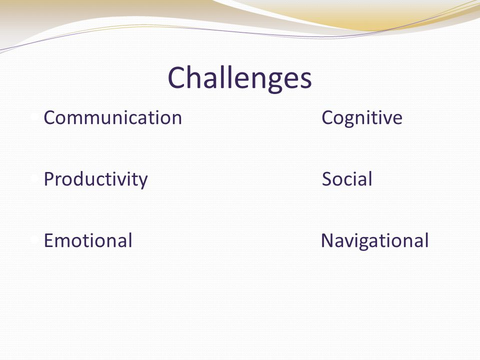 Challenges Communication Cognitive Productivity Social Emotional Navigational
