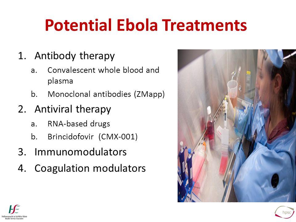 1.Antibody therapy a.Convalescent whole blood and plasma b.Monoclonal antibodies (ZMapp) 2.Antiviral therapy a.RNA-based drugs b.Brincidofovir (CMX-001) 3.Immunomodulators 4.Coagulation modulators