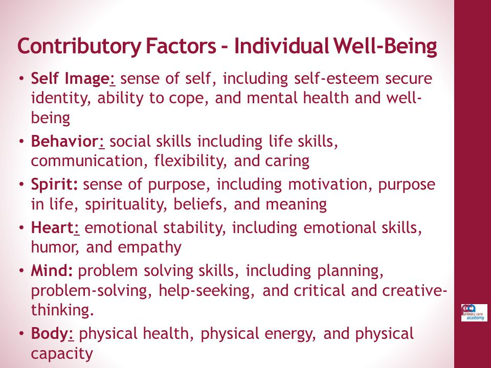 Contributory Factors - Individual Well-Being Self Image: sense of self, including self-esteem secure identity, ability to cope, and mental health and
