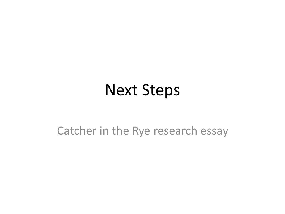 Next Steps Catcher in the Rye research essay