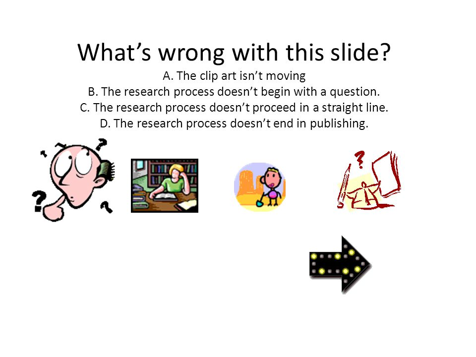 What's wrong with this slide. A. The clip art isn't moving B.