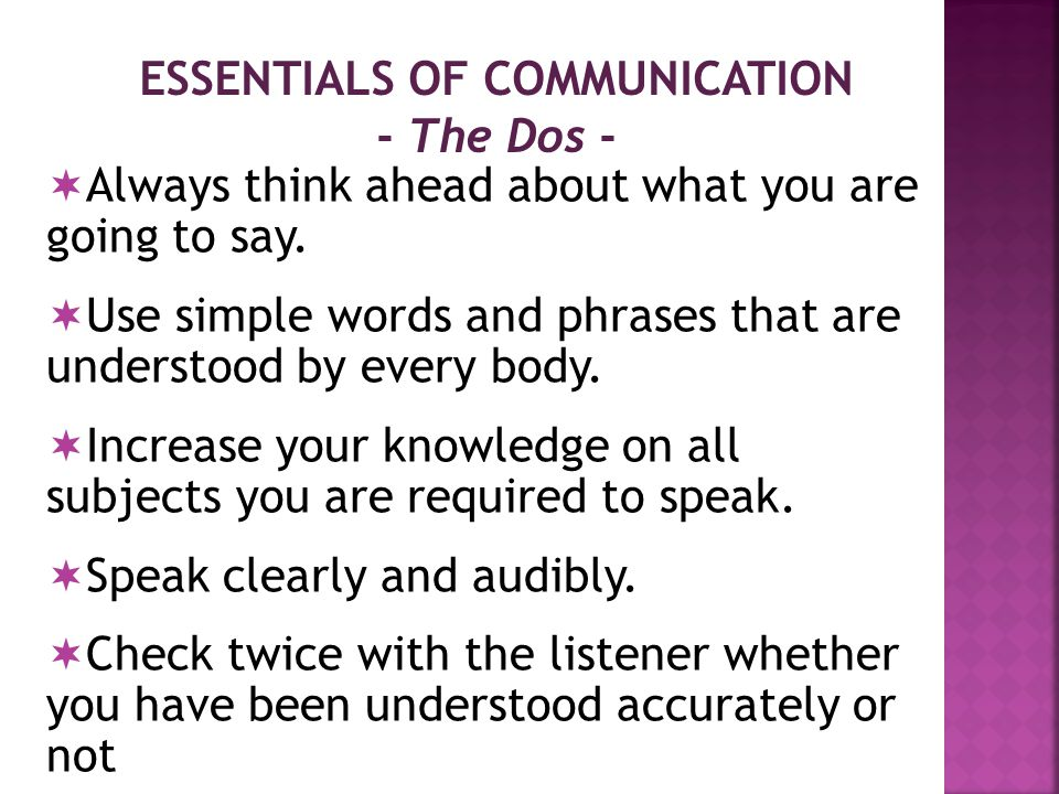 ESSENTIALS OF COMMUNICATION - The Dos -  Always think ahead about what you are going to say.