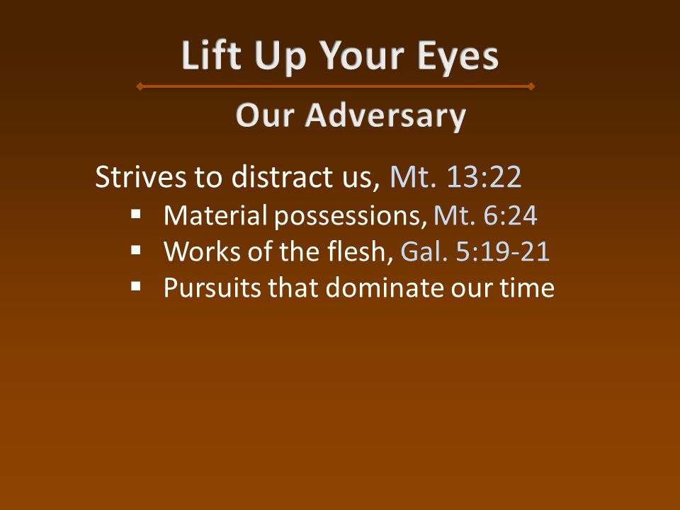 Wants us overwhelmed with grief  Judas, Mt. 27:3-5  Man at Corinth, 2 Cor. 2:7, 11