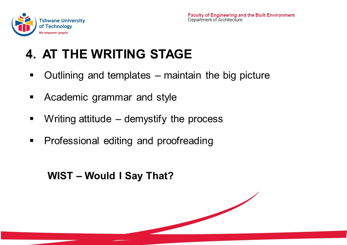 4.AT THE WRITING STAGE Faculty of Engineering and the Built Environment Department of Architecture  Outlining and templates – maintain the big picture  Academic grammar and style  Writing attitude – demystify the process  Professional editing and proofreading WIST – Would I Say That?
