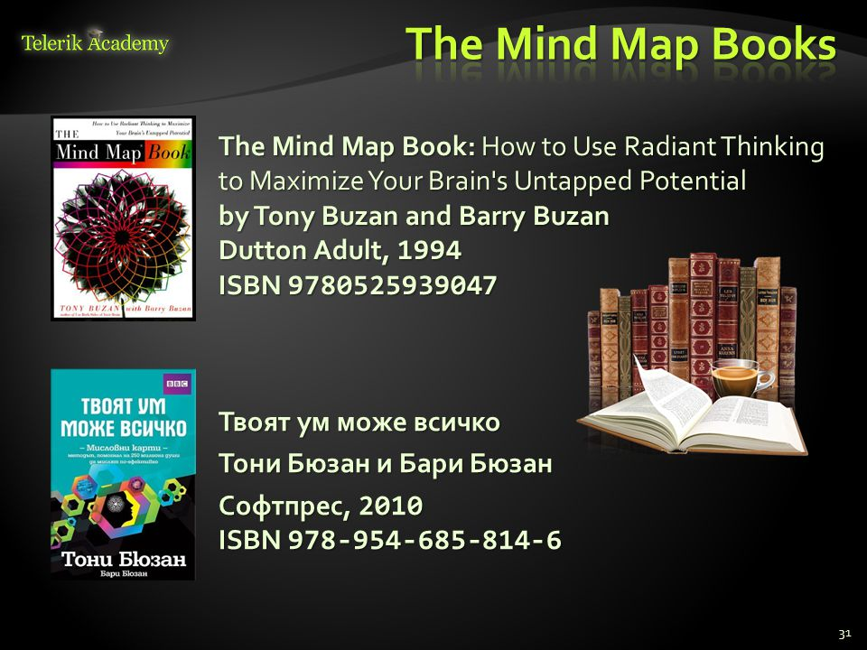 31 The Mind Map Book: How to Use Radiant Thinking to Maximize Your Brain's Untapped Potential by Tony Buzan and Barry Buzan Dutton Adult, 1994 ISBN 97