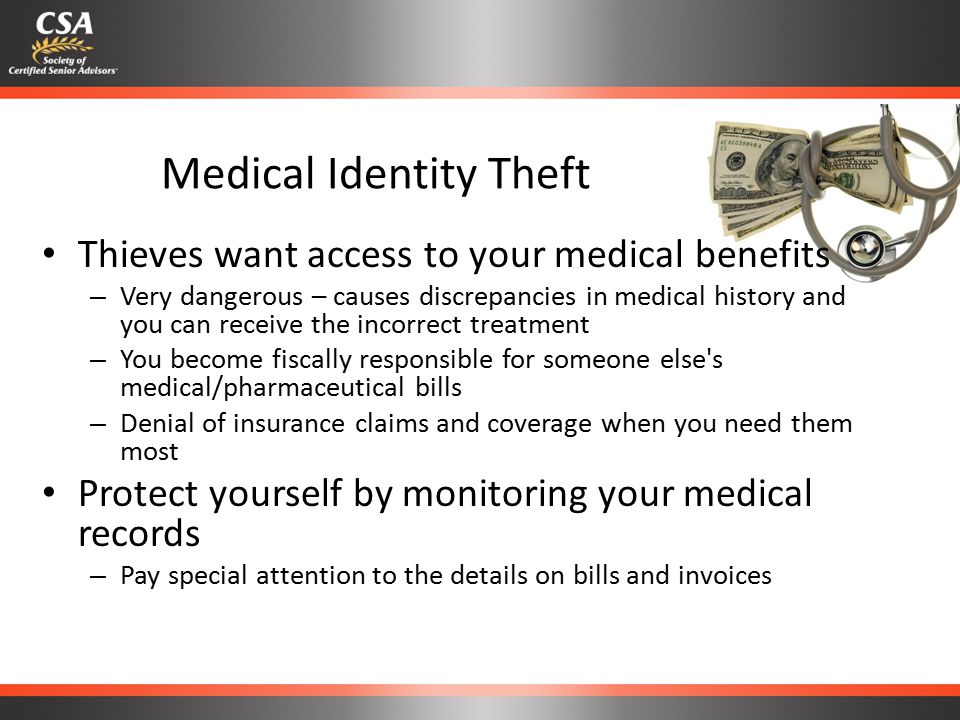 Criminal Identity Theft Thieves use your identity to commit crimes and damage your reputation – It is very difficult to convince law enforcement that it was not actually you who committed the crime – Victims usually only learn their identity has been stolen when: They are arrested from an outstanding warrant A background check reveals criminal activity in their name