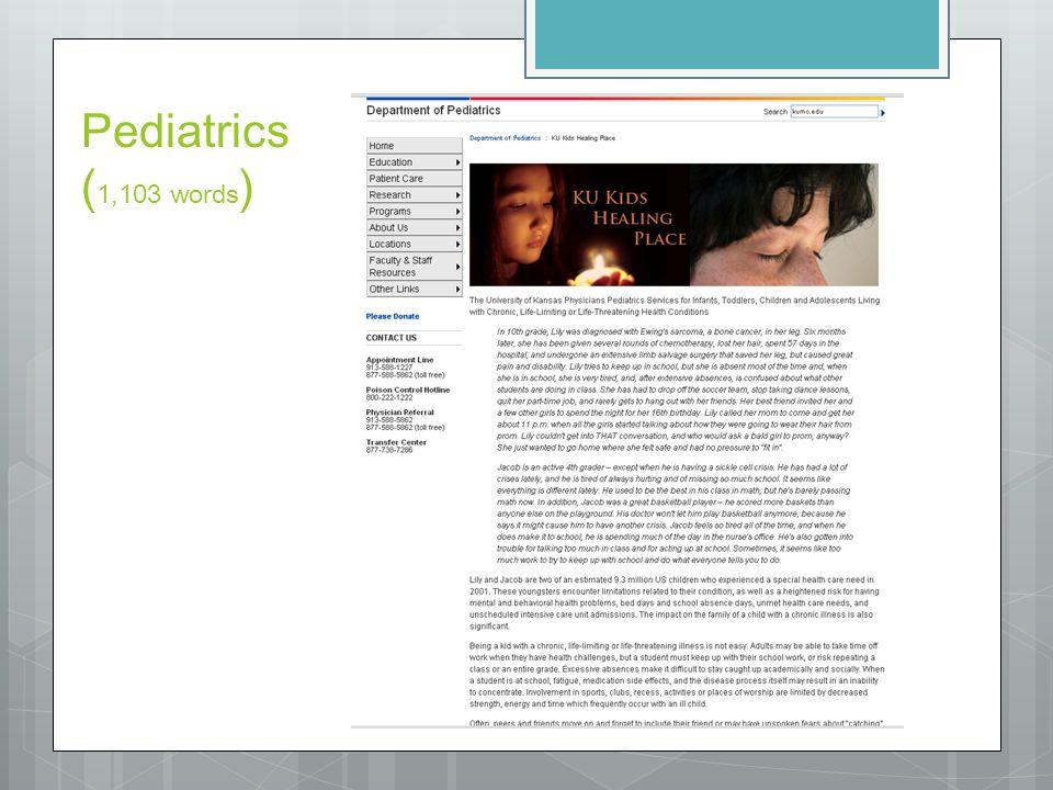 Pediatrics ( 1,103 words )