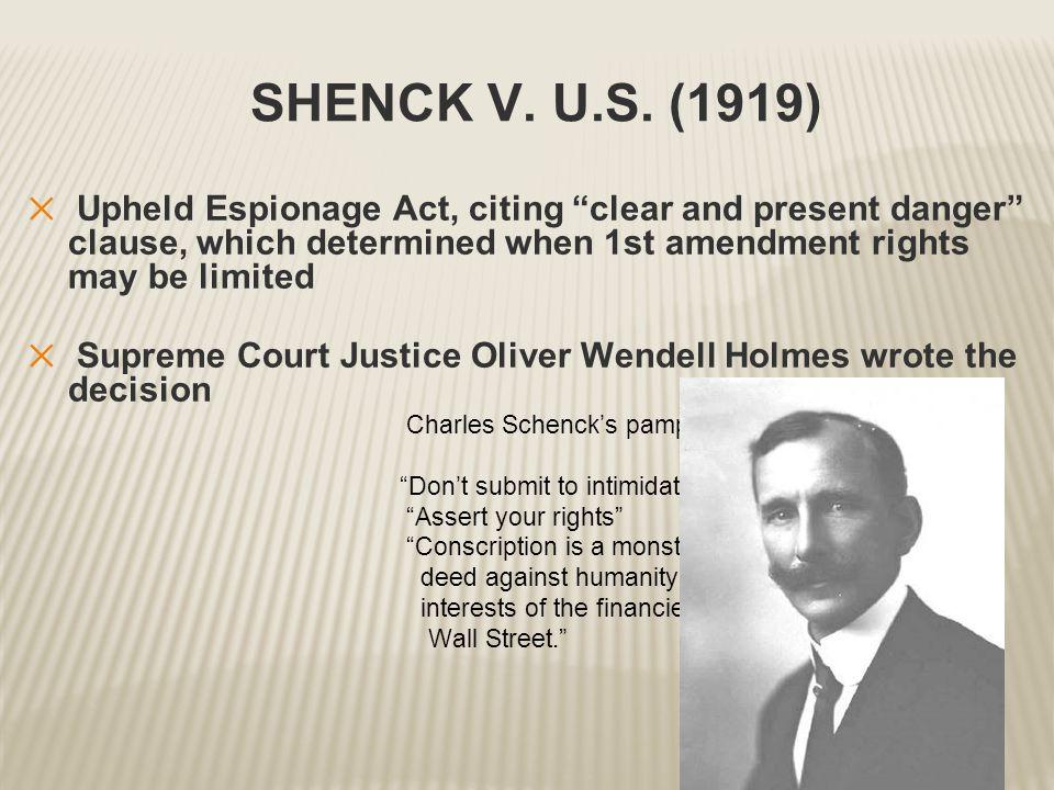 SHENCK V. U.S.