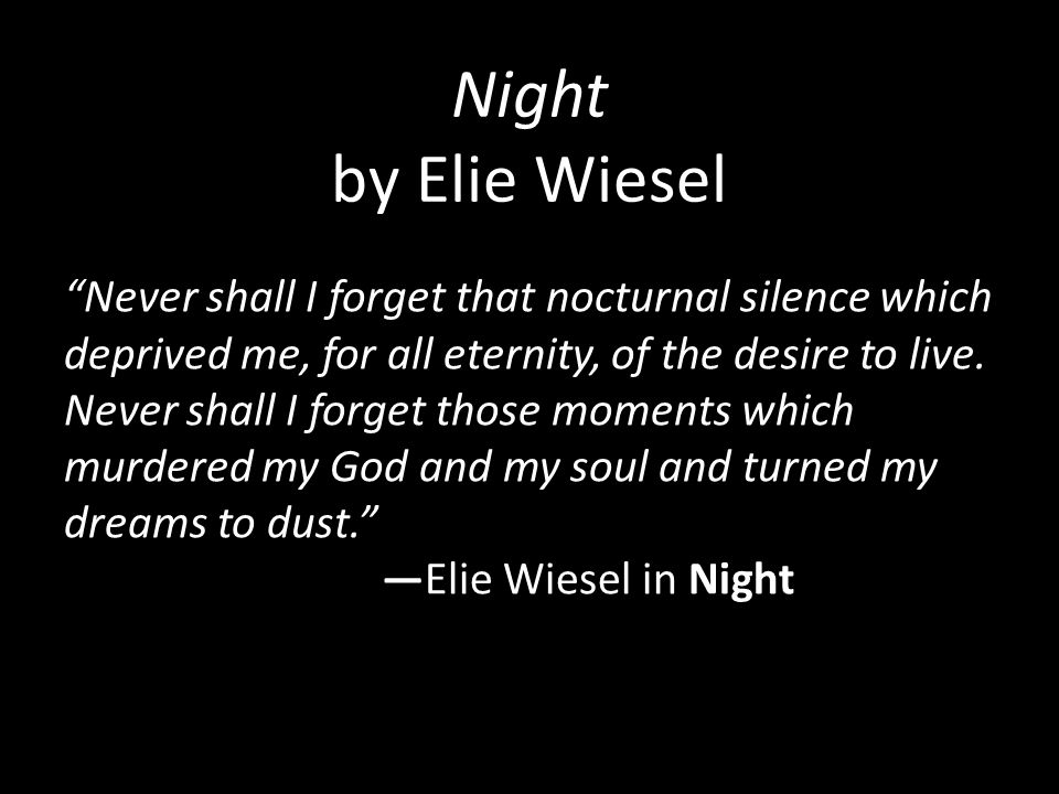 essay questions about night by elie wiesel Night elie wiesel's a skills-based approach to teaching the novel houston, texas 501-1256 sample sample iii essay questions.