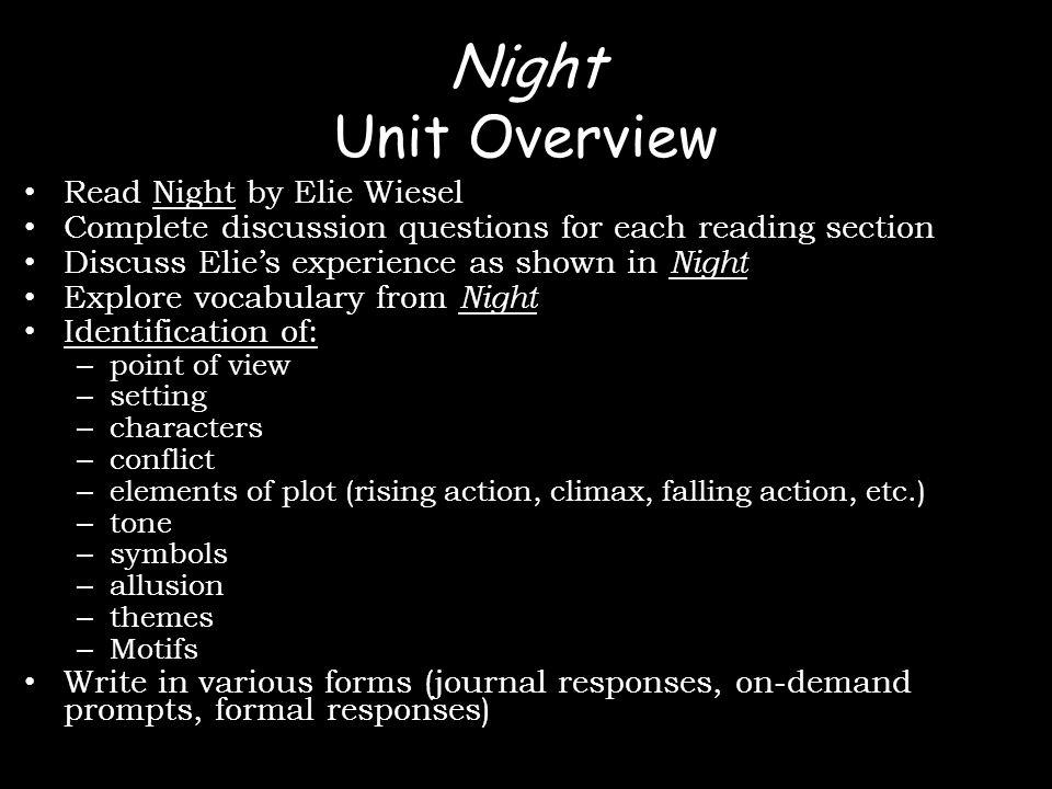 Night Reading 5 Written Response Pg.81-109 (small book) Pg.
