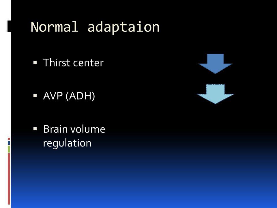 Normal adaptaion  Thirst center  AVP (ADH)  Brain volume regulation