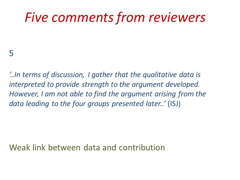 Five comments from reviewers 5 '..In terms of discussion, I gather that the qualitative data is interpreted to provide strength to the argument developed.