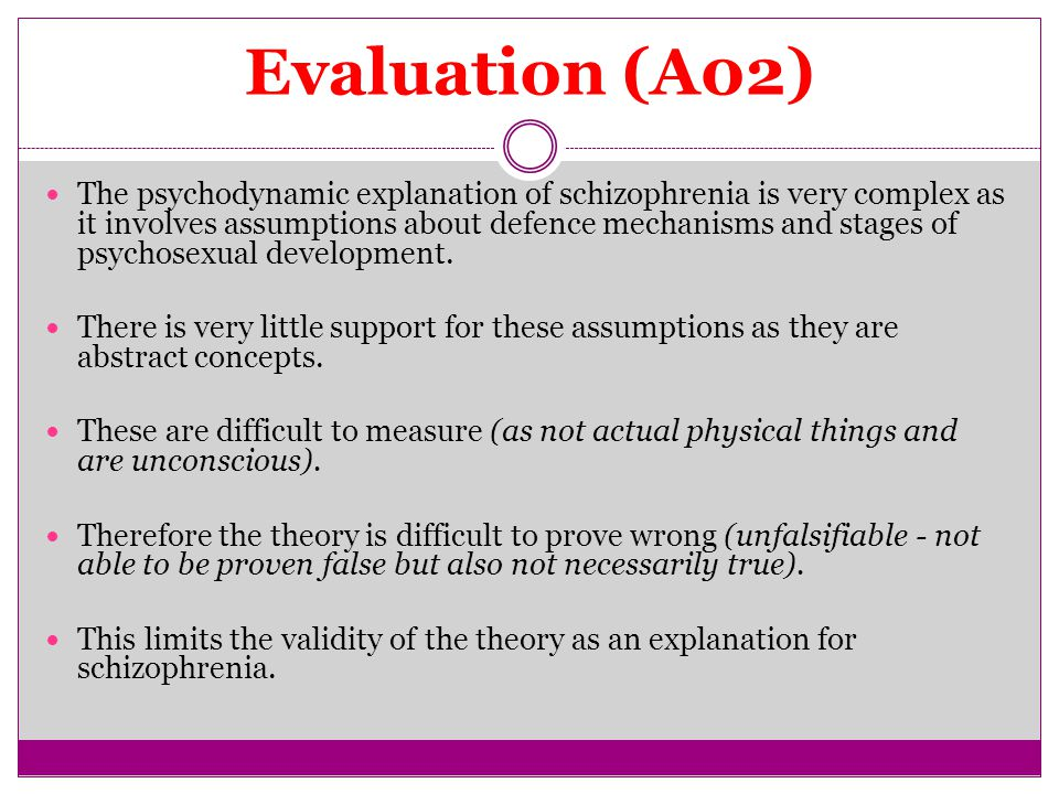 Evaluation (A02) The psychodynamic explanation of schizophrenia is very complex as it involves assumptions about defence mechanisms and stages of psychosexual development.
