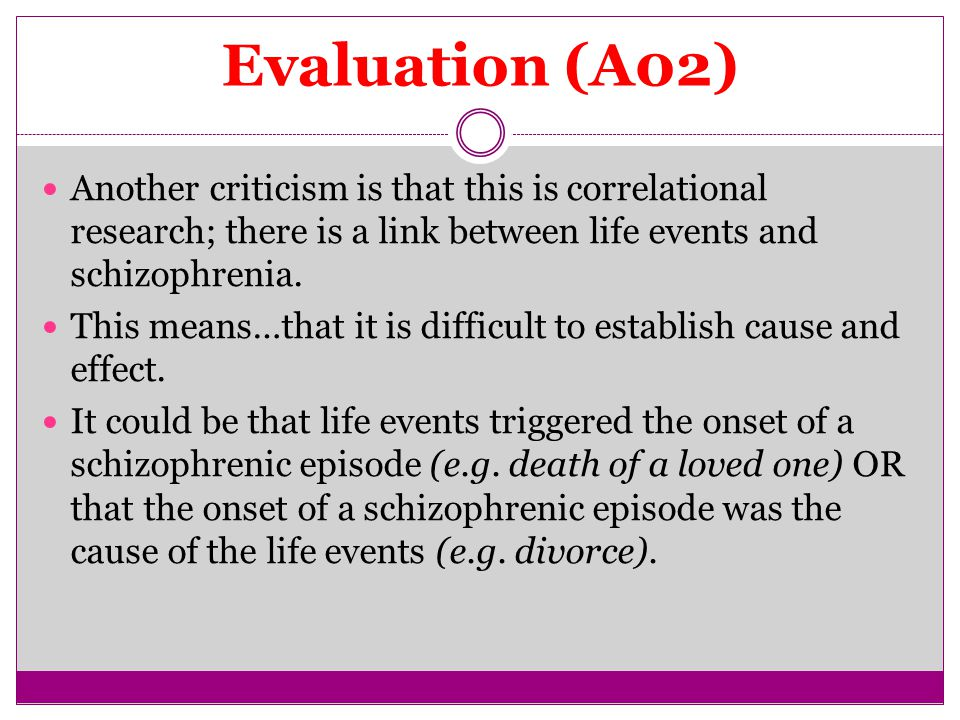 Evaluation (A02) Another criticism is that this is correlational research; there is a link between life events and schizophrenia.