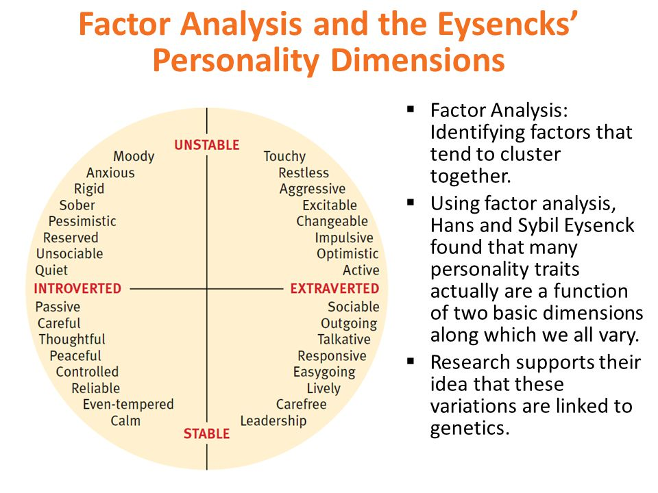 Factor Analysis and the Eysencks' Personality Dimensions  Factor Analysis: Identifying factors that tend to cluster together.