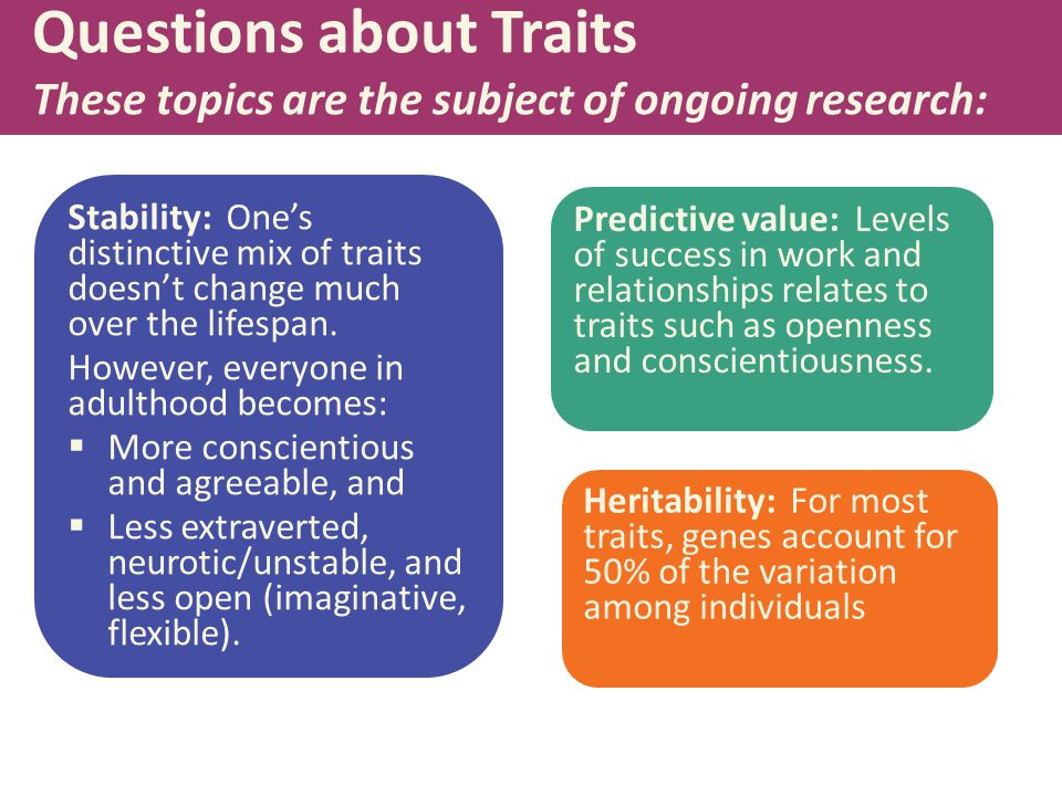 Questions about Traits These topics are the subject of ongoing research: Stability: One's distinctive mix of traits doesn't change much over the lifespan.