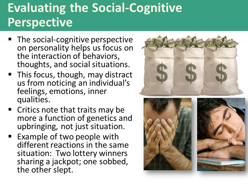 Evaluating the Social-Cognitive Perspective  The social-cognitive perspective on personality helps us focus on the interaction of behaviors, thoughts, and social situations.
