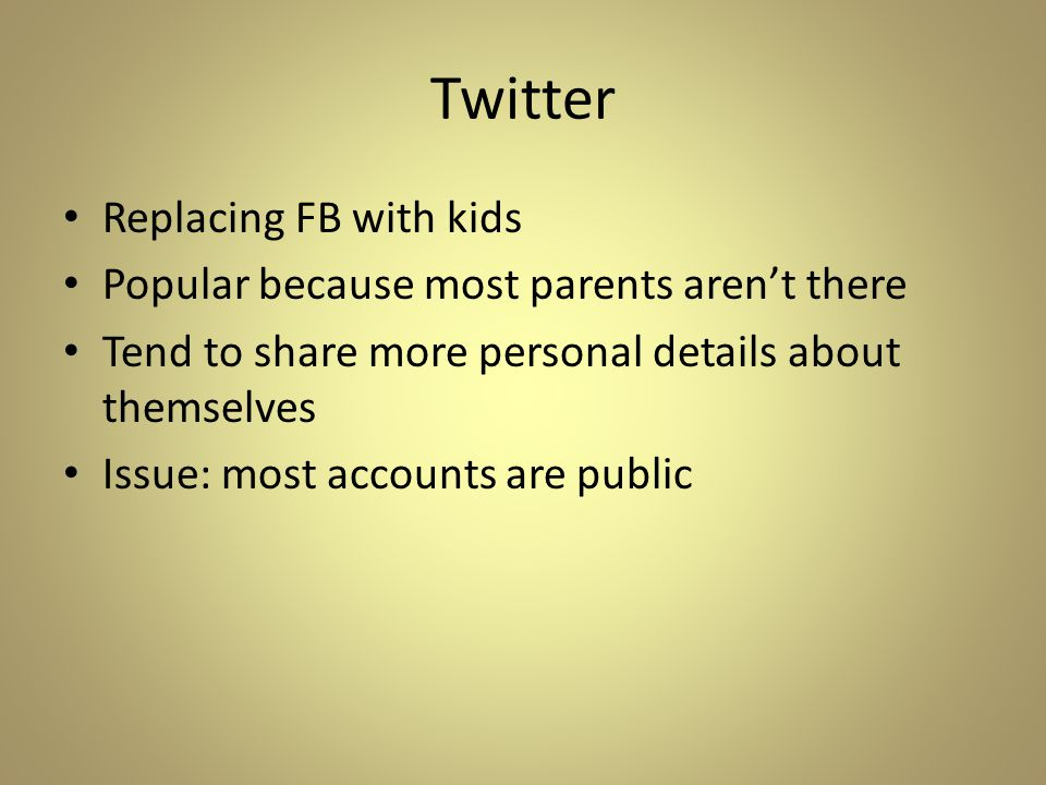 Twitter Replacing FB with kids Popular because most parents aren't there Tend to share more personal details about themselves Issue: most accounts are