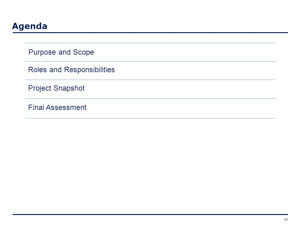 43 Agenda Final Assessment Project Snapshot Roles and Responsibilities Purpose and Scope