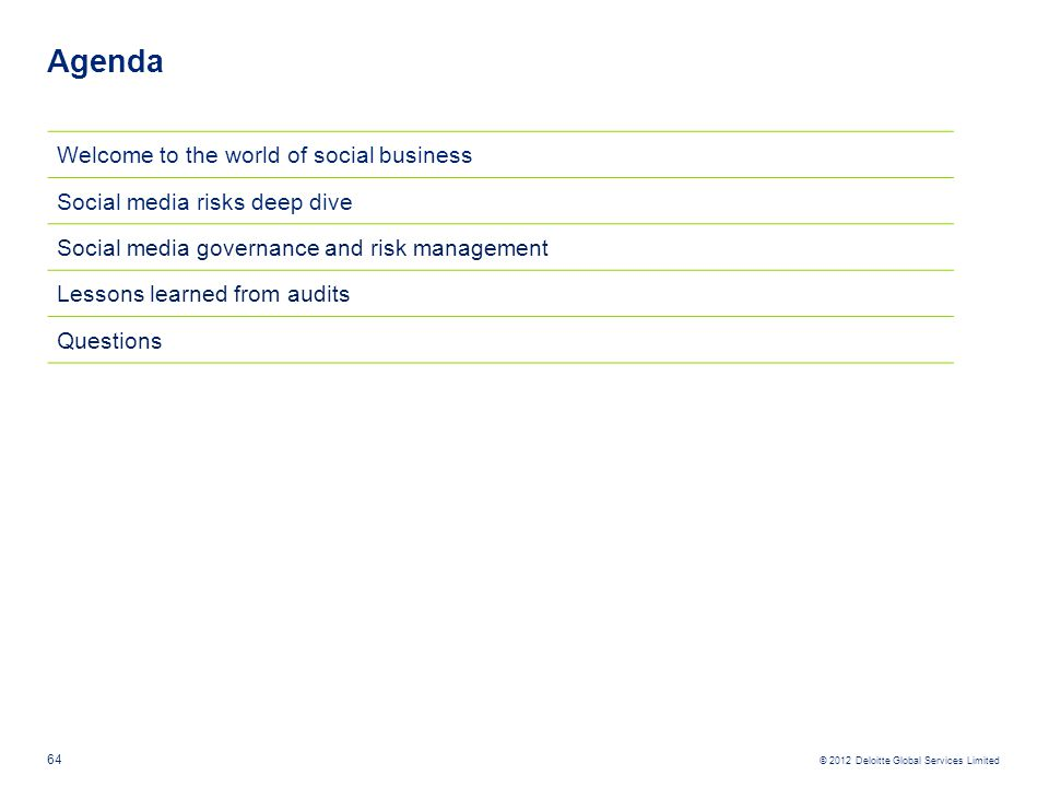 © 2012 Deloitte Global Services Limited Agenda 64 Welcome to the world of social business Social media risks deep dive Social media governance and ris
