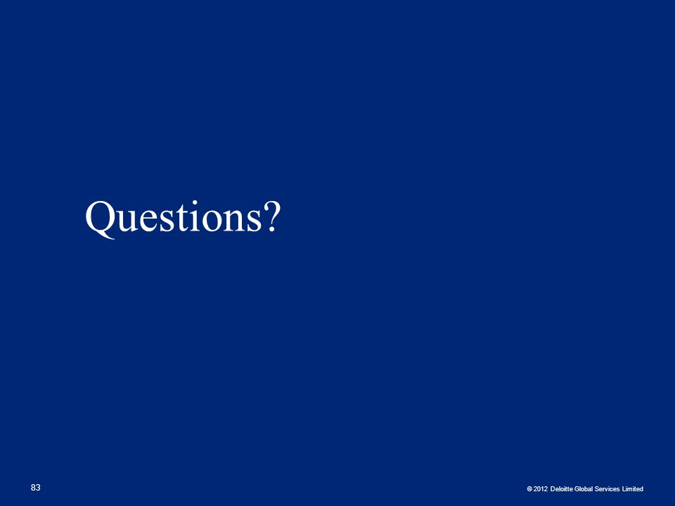 © 2012 Deloitte Global Services Limited Questions? 83
