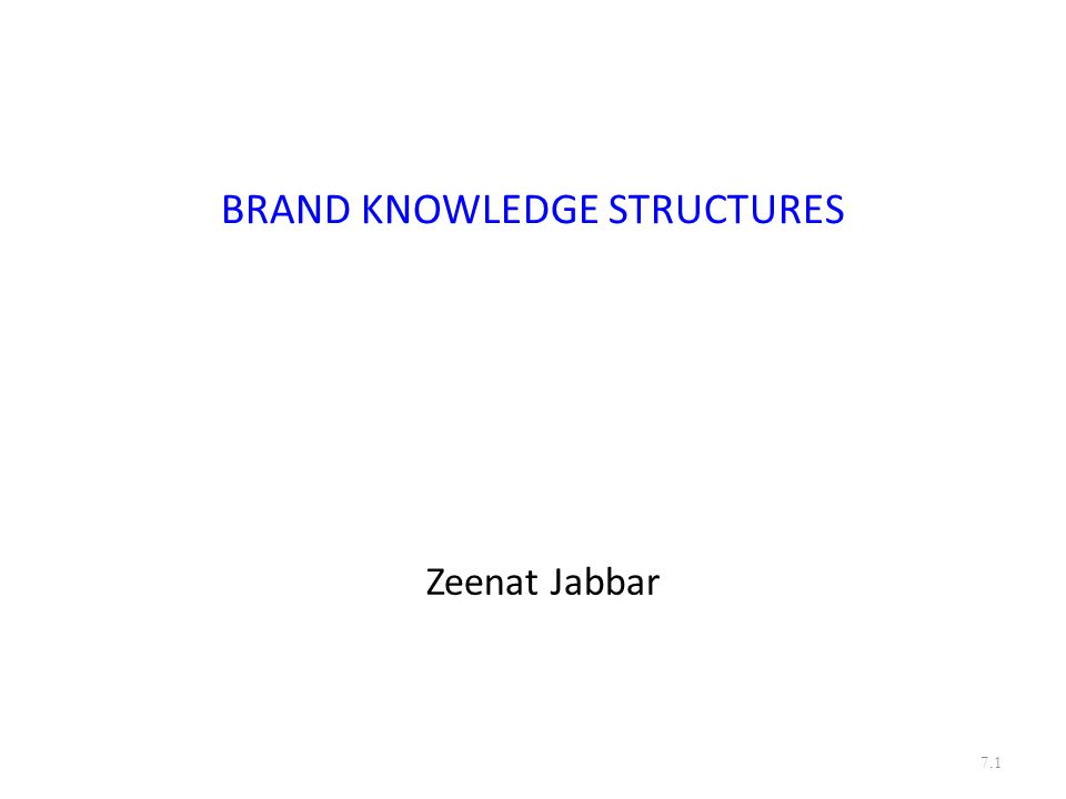 BRAND KNOWLEDGE STRUCTURES Zeenat Jabbar 7.1
