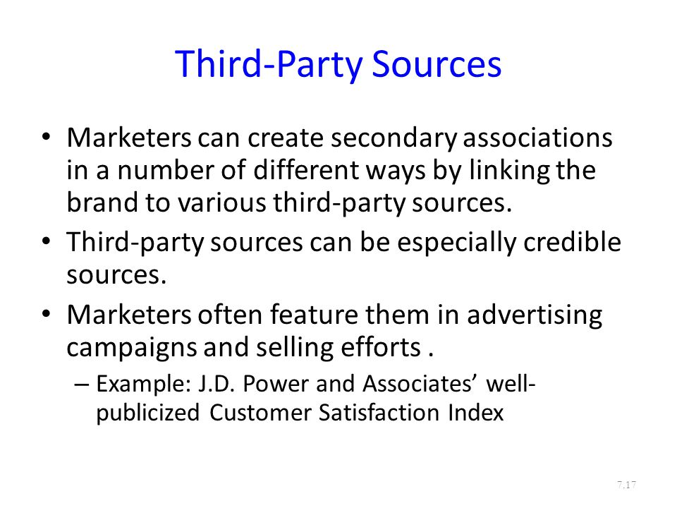 Third-Party Sources Marketers can create secondary associations in a number of different ways by linking the brand to various third-party sources.