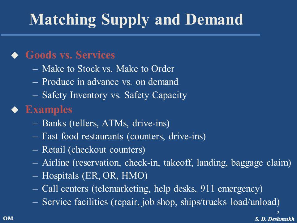 S. D. Deshmukh OM Matching Supply and Demand u Goods vs.