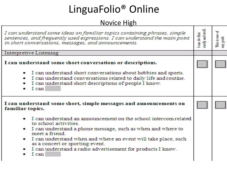 Novice High LinguaFolio® Online