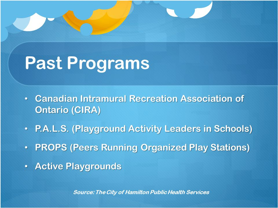 Past Programs Canadian Intramural Recreation Association of Ontario (CIRA) Canadian Intramural Recreation Association of Ontario (CIRA) P.A.L.S.