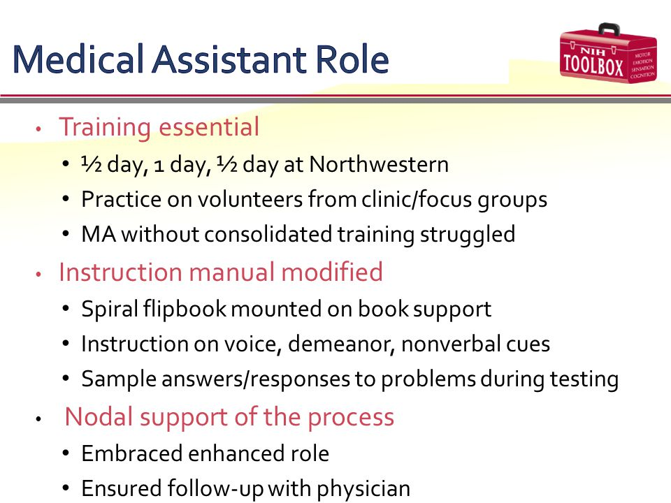 Title Training essential ½ day, 1 day, ½ day at Northwestern Practice on volunteers from clinic/focus groups MA without consolidated training struggle