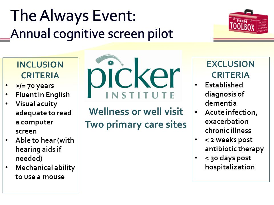 Wellness or well visit Two primary care sites INCLUSION CRITERIA >/= 70 years Fluent in English Visual acuity adequate to read a computer screen Able