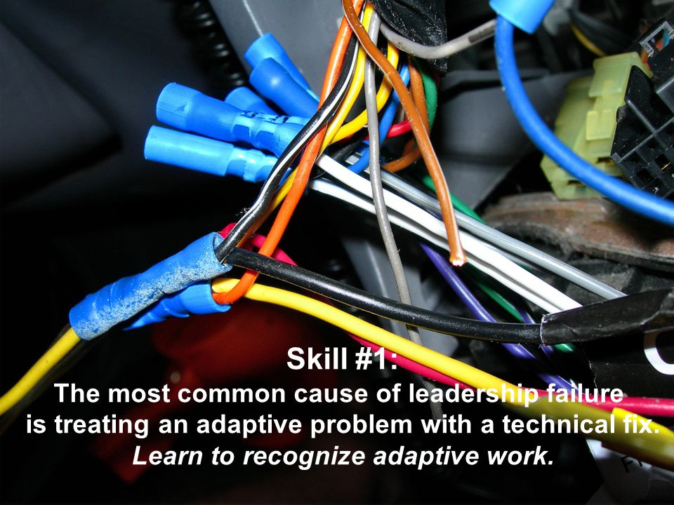 Skill #1: The most common cause of leadership failure is treating an adaptive problem with a technical fix. Learn to recognize adaptive work.
