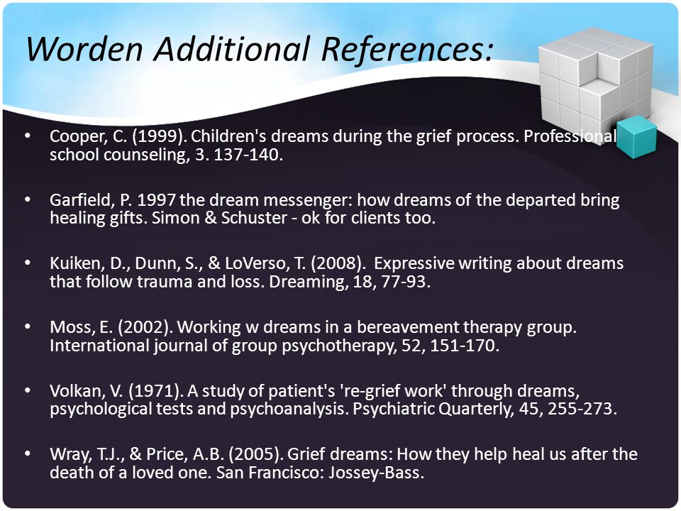 Worden Additional References: Cooper, C. (1999). Children s dreams during the grief process.