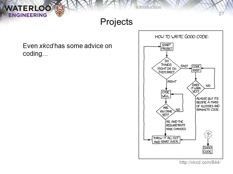 27 Introduction Projects Even xkcd has some advice on coding... http://xkcd.com/844/