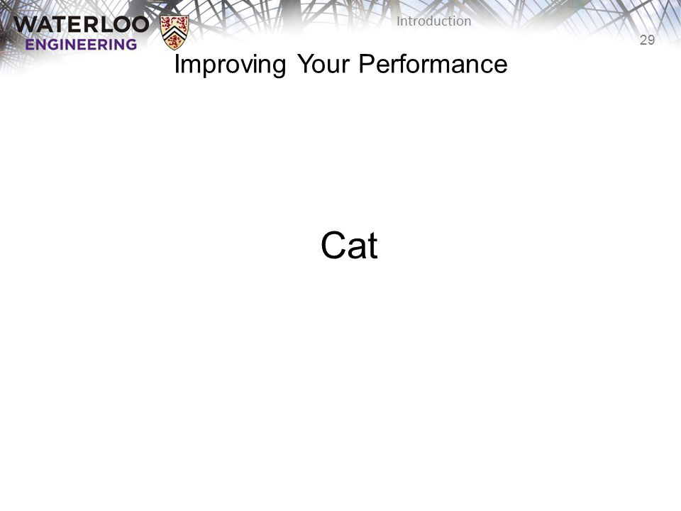 29 Introduction Cat Improving Your Performance