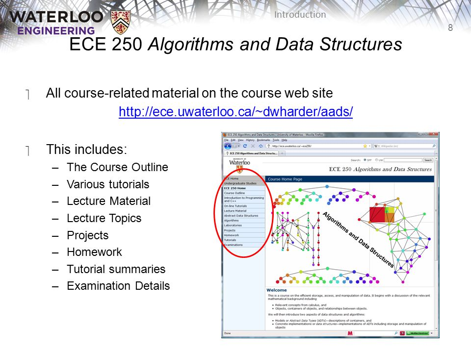 8 Introduction ECE 250 Algorithms and Data Structures ‫All course-related material on the course web site http://ece.uwaterloo.ca/~dwharder/aads/ ‫This includes: –The Course Outline –Various tutorials –Lecture Material –Lecture Topics –Projects –Homework –Tutorial summaries –Examination Details